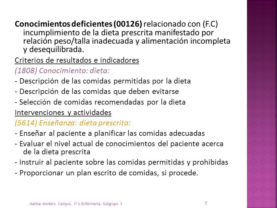Conocimientos deficientes (00126) relacionado con (F