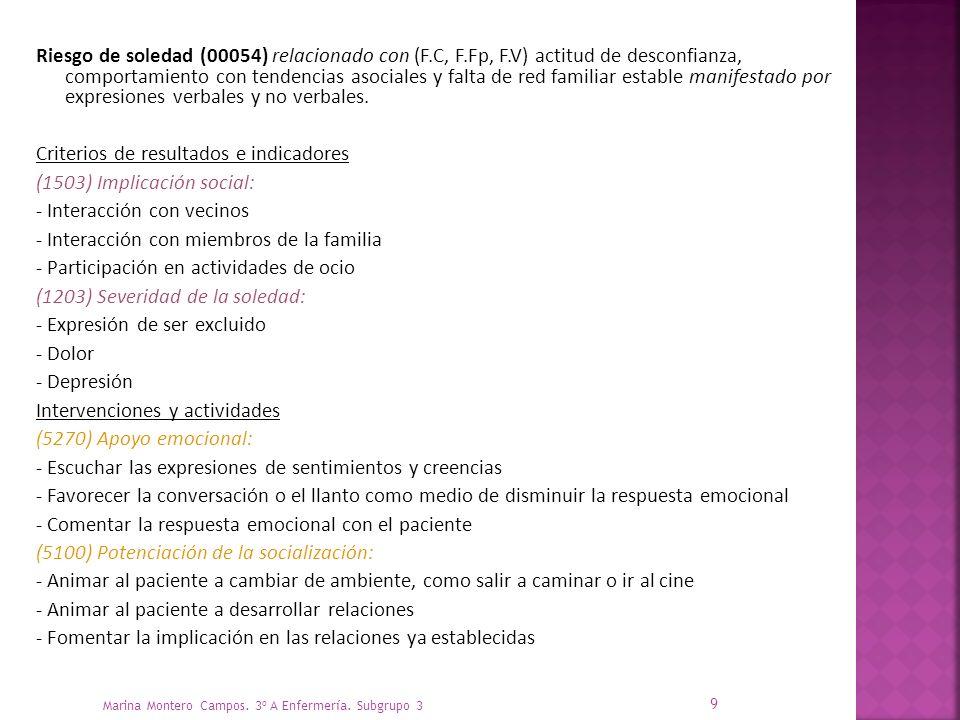 Criterios de resultados e indicadores (1503) Implicación social: