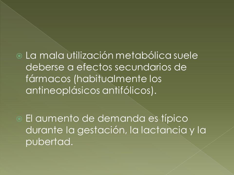 La mala utilización metabólica suele deberse a efectos secundarios de fármacos (habitualmente los antineoplásicos antifólicos).