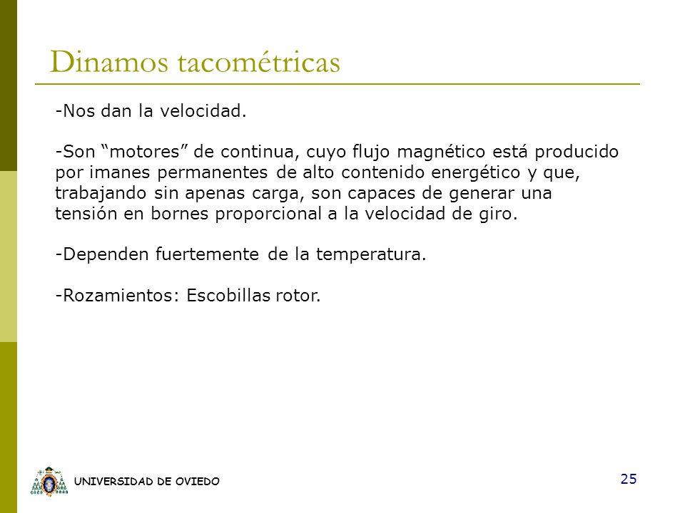 Dinamos tacométricas -Nos dan la velocidad.