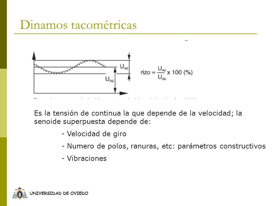 Dinamos tacométricas Es la tensión de continua la que depende de la velocidad; la senoide superpuesta depende de:
