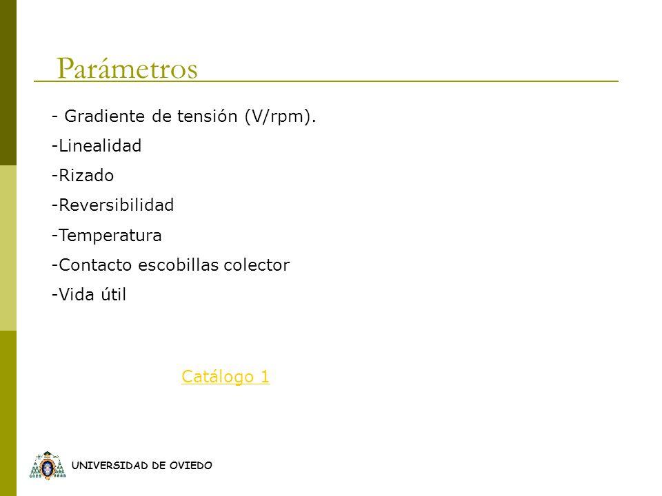 Parámetros - Gradiente de tensión (V/rpm). Linealidad Rizado