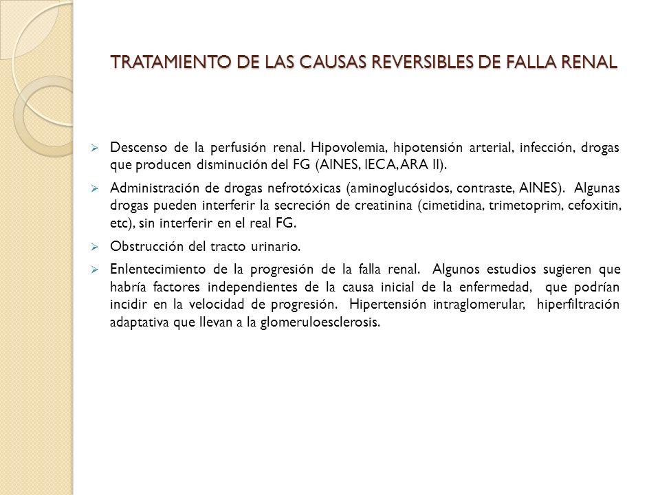 TRATAMIENTO DE LAS CAUSAS REVERSIBLES DE FALLA RENAL