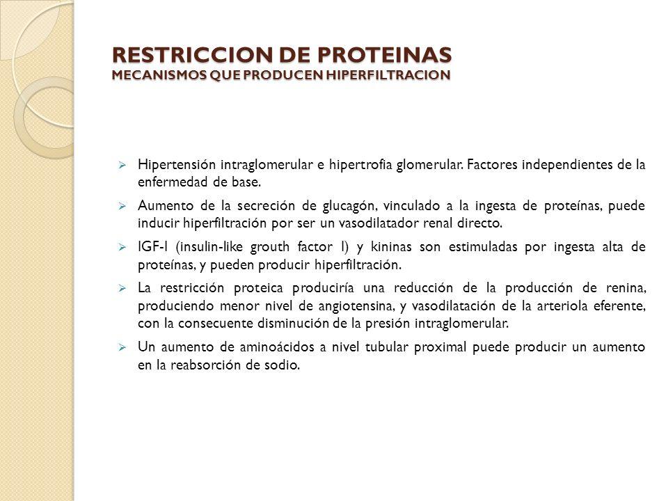 RESTRICCION DE PROTEINAS MECANISMOS QUE PRODUCEN HIPERFILTRACION