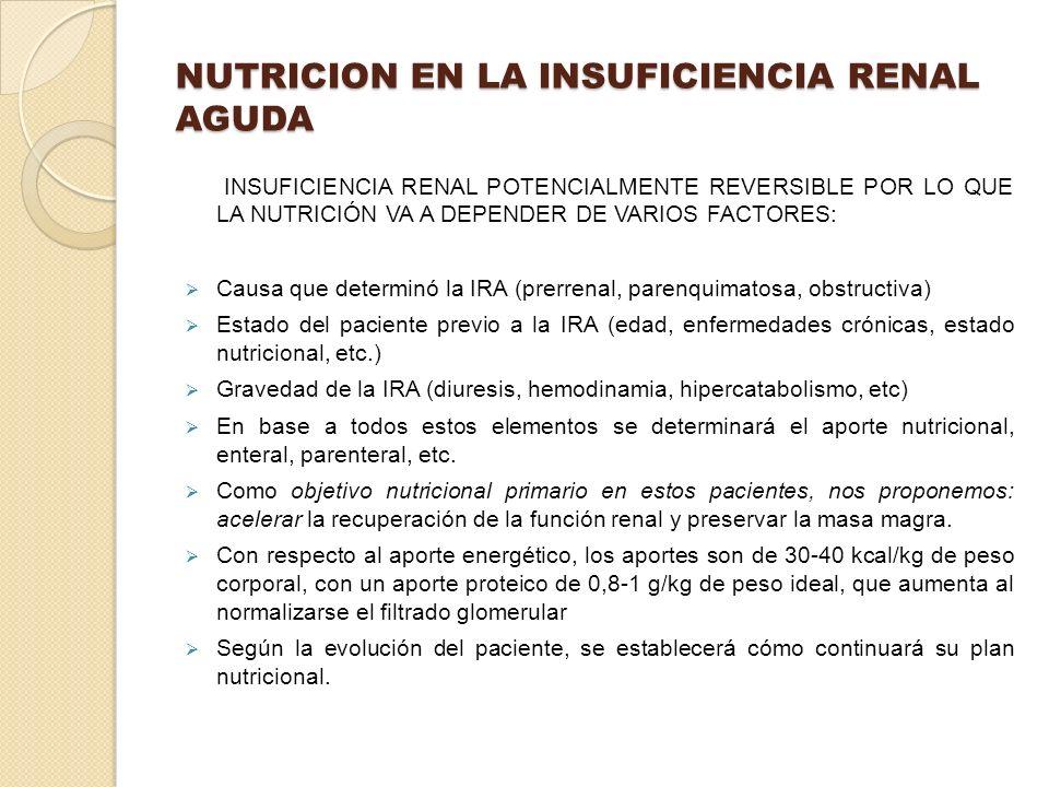 NUTRICION EN LA INSUFICIENCIA RENAL AGUDA