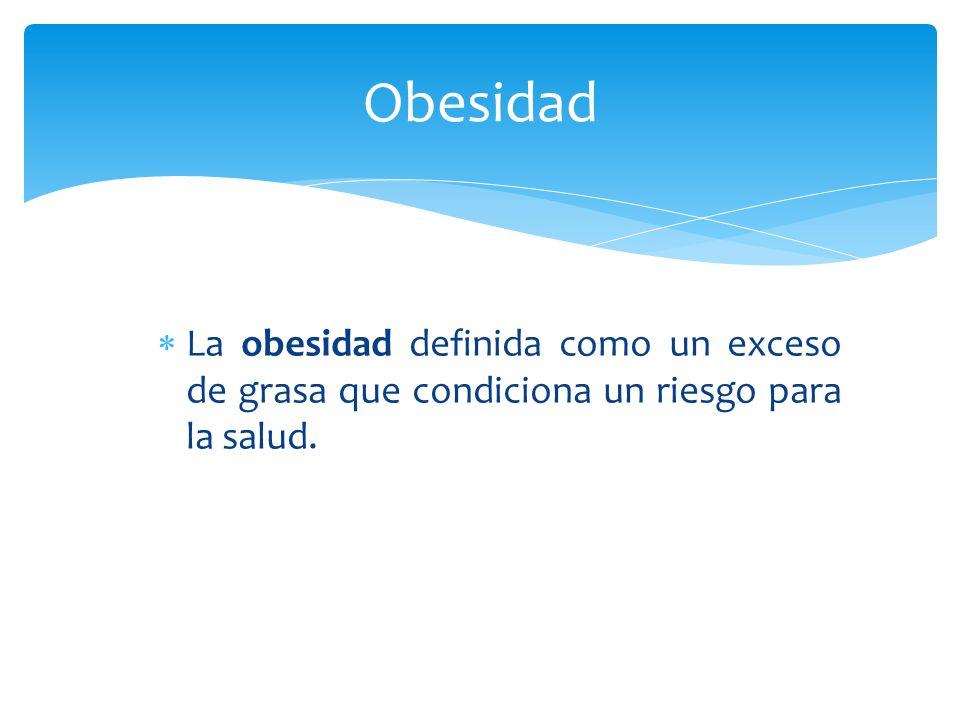 Obesidad La obesidad definida como un exceso de grasa que condiciona un riesgo para la salud.
