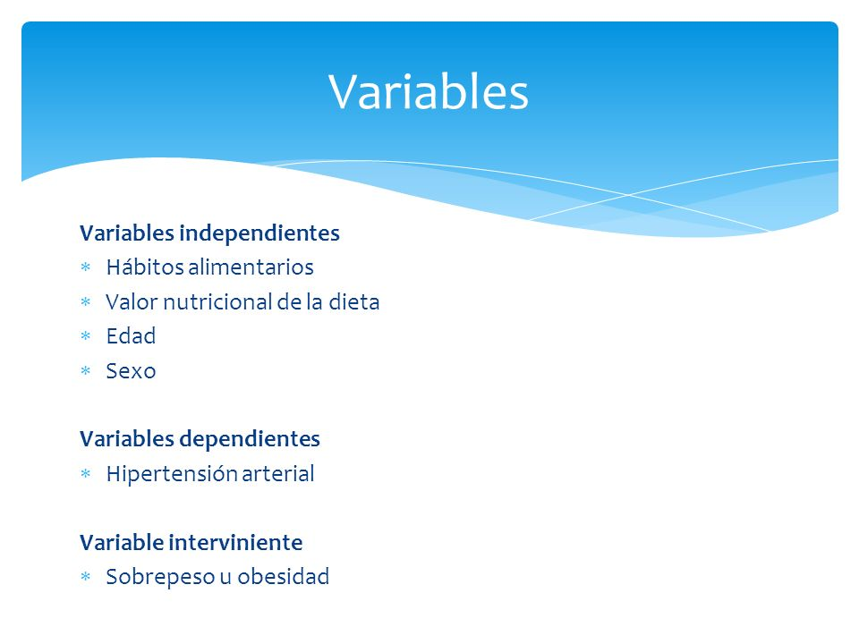 Variables Variables independientes Hábitos alimentarios