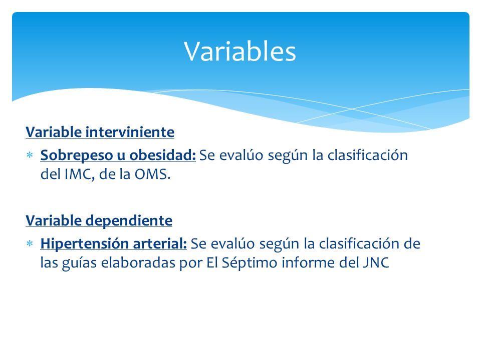 Variables Variable interviniente