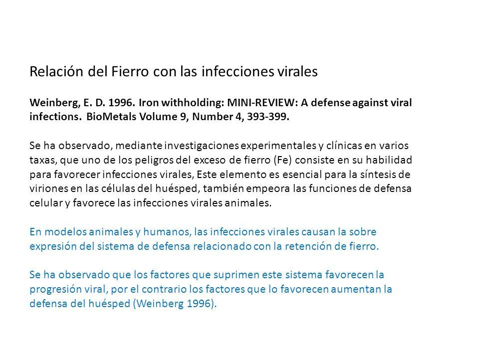 Relación del Fierro con las infecciones virales