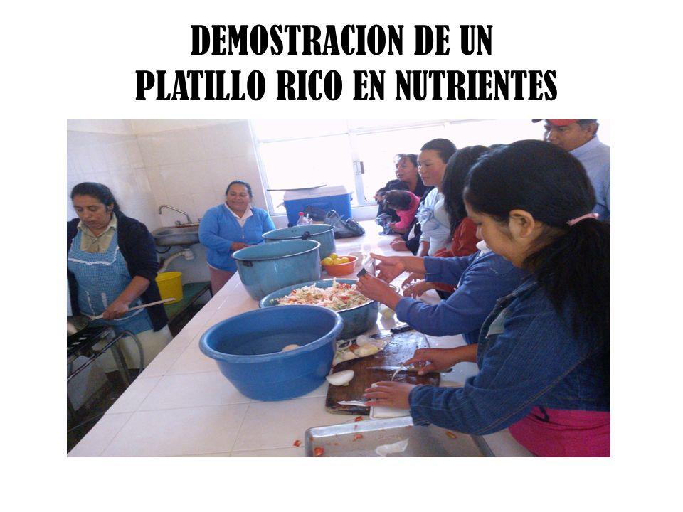DEMOSTRACION DE UN PLATILLO RICO EN NUTRIENTES