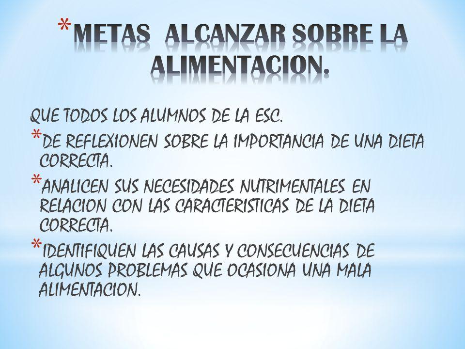 METAS ALCANZAR SOBRE LA ALIMENTACION.