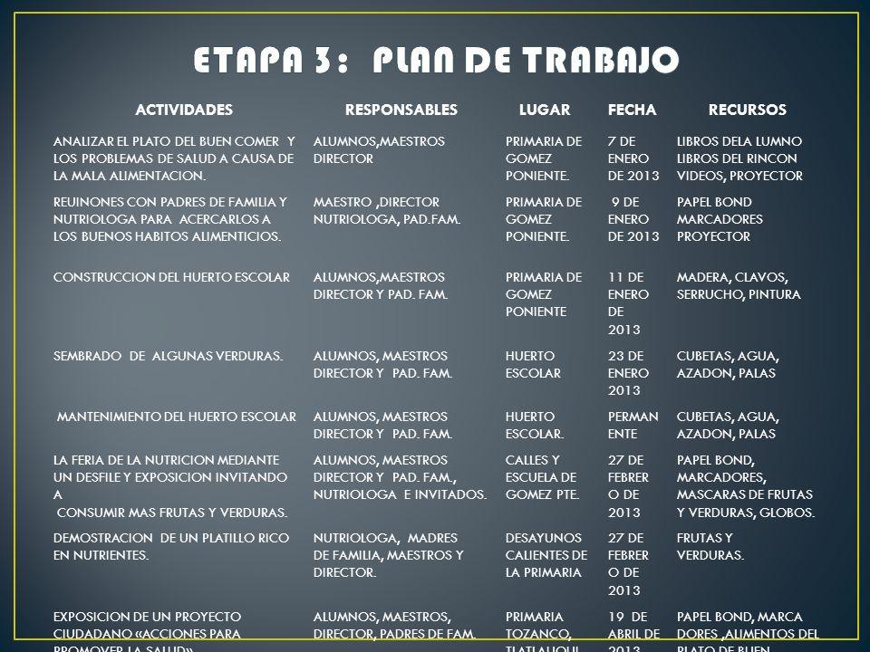 ETAPA 3: PLAN DE TRABAJO ACTIVIDADES RESPONSABLES LUGAR FECHA RECURSOS