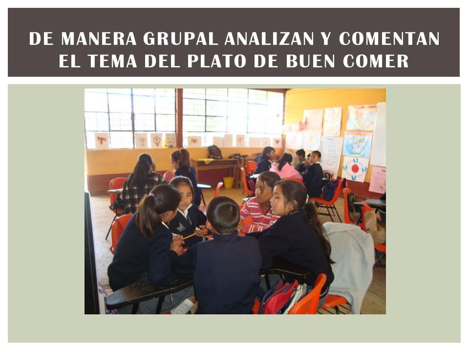 DE MANERA GRUPAL ANALIZAN Y COMENTAN EL TEMA DEL PLATO DE BUEN COMER