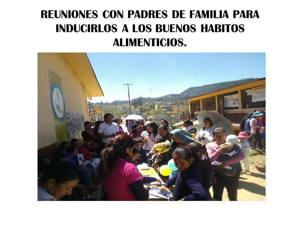 REUNIONES CON PADRES DE FAMILIA PARA INDUCIRLOS A LOS BUENOS HABITOS ALIMENTICIOS.