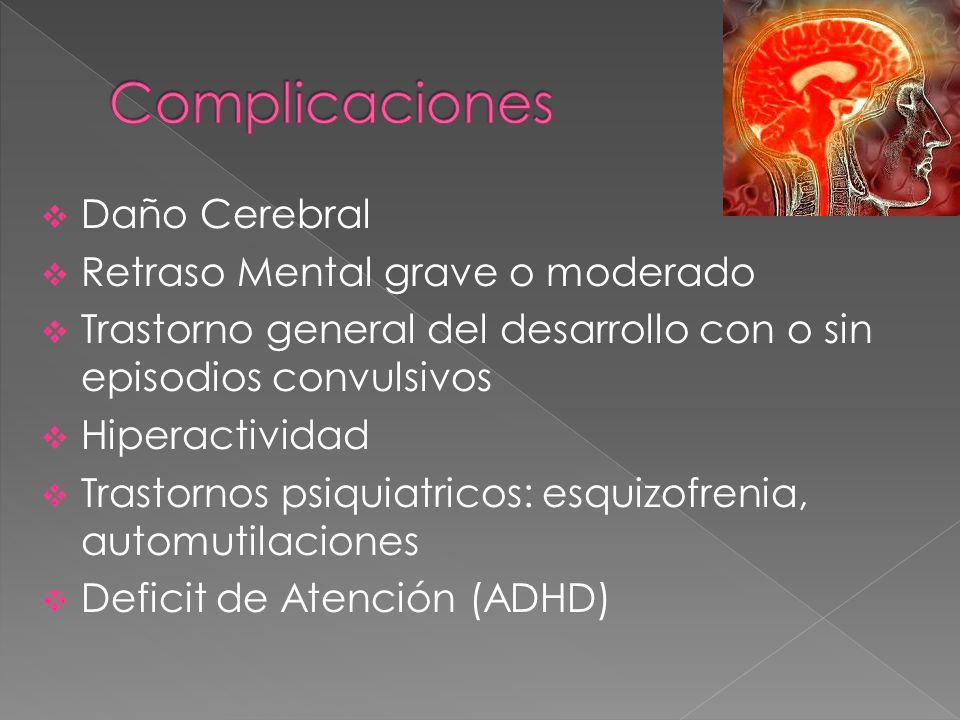 Complicaciones Daño Cerebral Retraso Mental grave o moderado