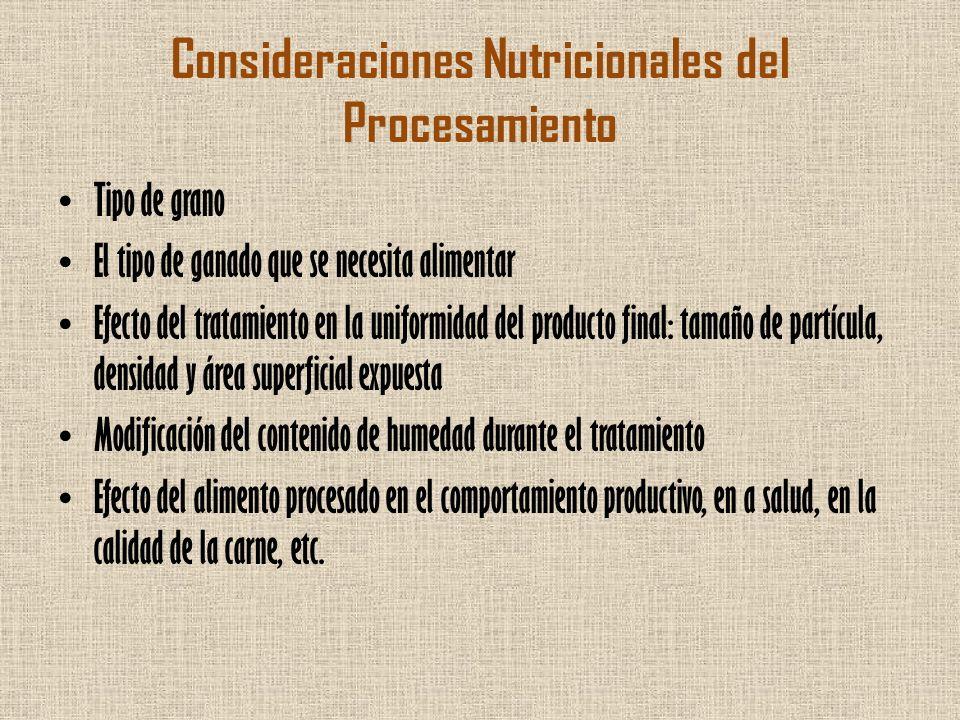 Consideraciones Nutricionales del Procesamiento