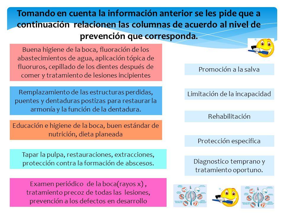 Tomando en cuenta la información anterior se les pide que a continuación relacionen las columnas de acuerdo al nivel de prevención que corresponda.