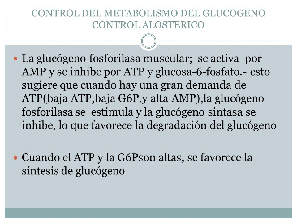 CONTROL DEL METABOLISMO DEL GLUCOGENO CONTROL ALOSTERICO