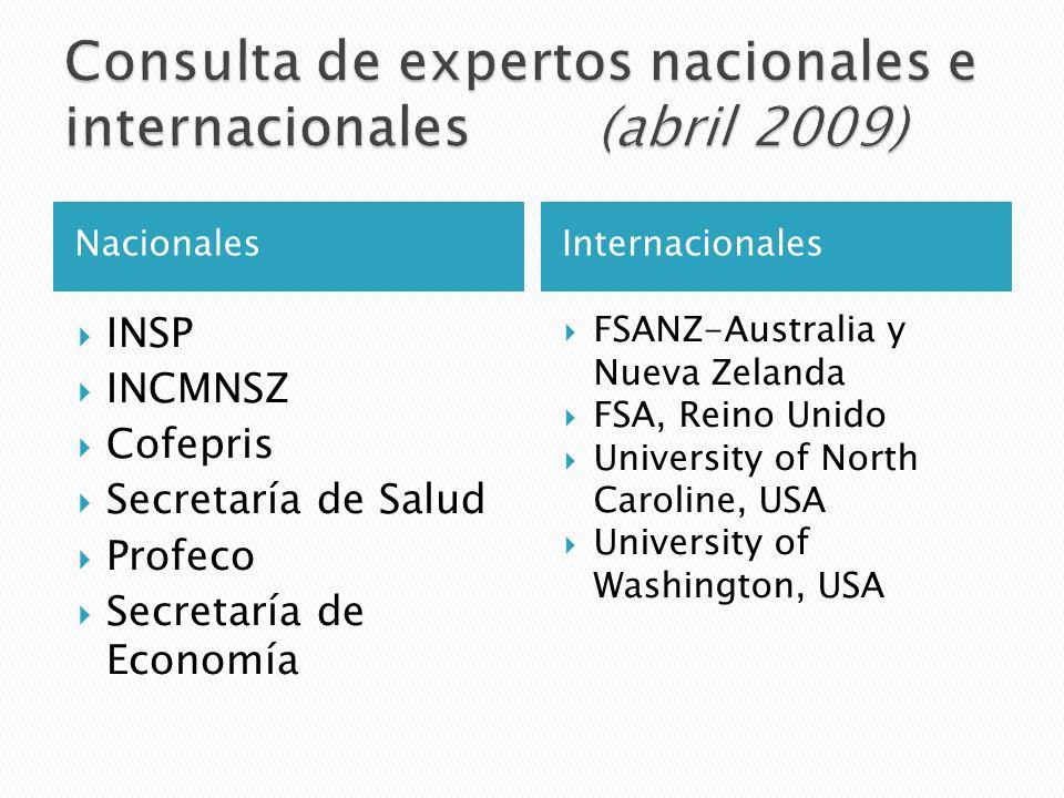 Consulta de expertos nacionales e internacionales (abril 2009)