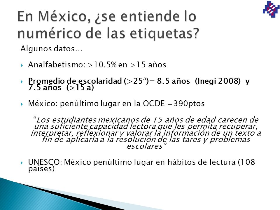 En México, ¿se entiende lo numérico de las etiquetas