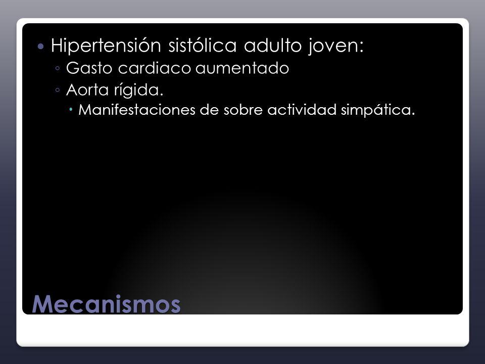 Mecanismos Hipertensión sistólica adulto joven: