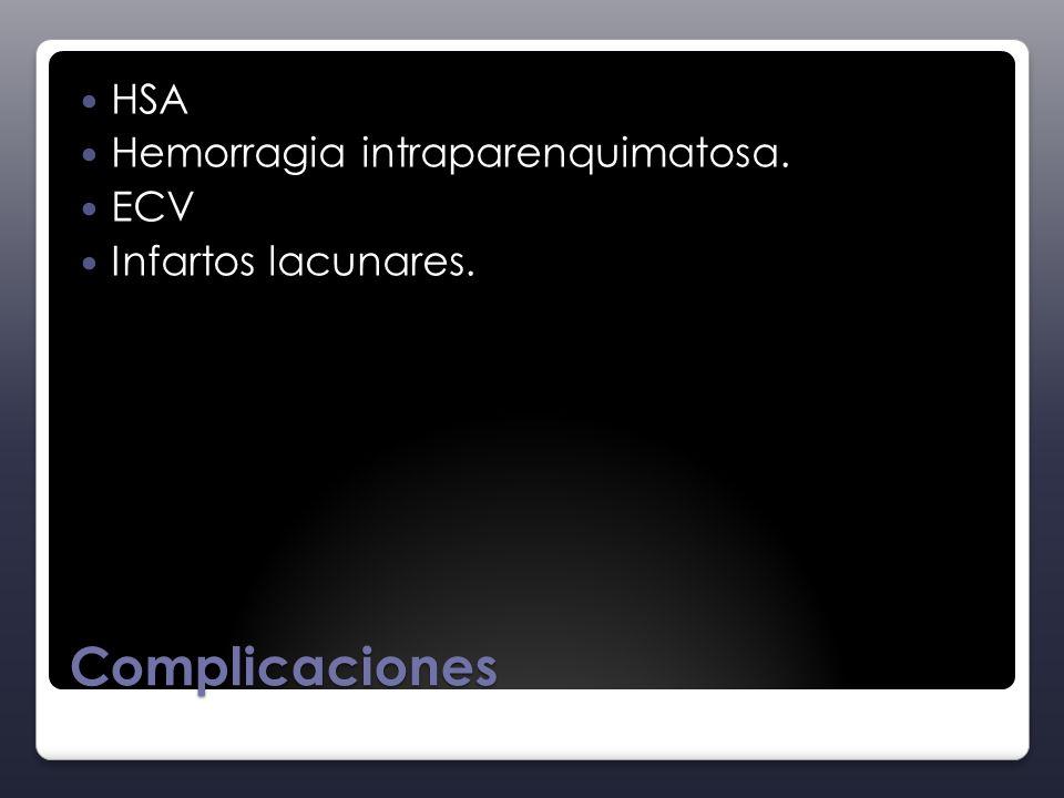 Complicaciones HSA Hemorragia intraparenquimatosa. ECV