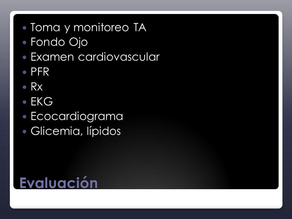 Evaluación Toma y monitoreo TA Fondo Ojo Examen cardiovascular PFR Rx