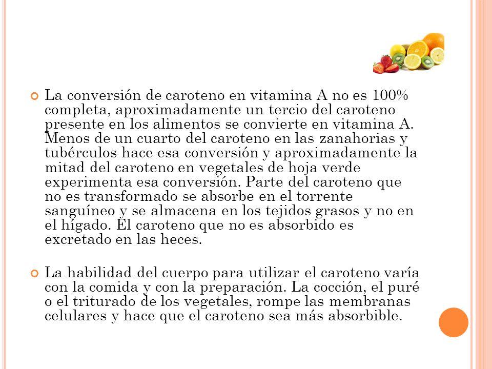 La conversión de caroteno en vitamina A no es 100% completa, aproximadamente un tercio del caroteno presente en los alimentos se convierte en vitamina A. Menos de un cuarto del caroteno en las zanahorias y tubérculos hace esa conversión y aproximadamente la mitad del caroteno en vegetales de hoja verde experimenta esa conversión. Parte del caroteno que no es transformado se absorbe en el torrente sanguíneo y se almacena en los tejidos grasos y no en el hígado. El caroteno que no es absorbido es excretado en las heces.