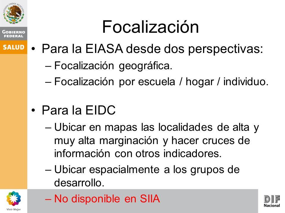 Focalización Para la EIASA desde dos perspectivas: Para la EIDC