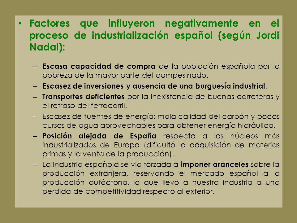 Factores que influyeron negativamente en el proceso de industrialización español (según Jordi Nadal):