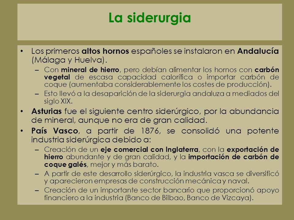 La siderurgia Los primeros altos hornos españoles se instalaron en Andalucía (Málaga y Huelva).