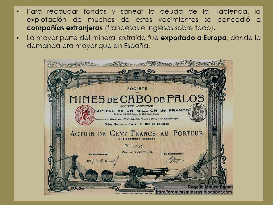 Para recaudar fondos y sanear la deuda de la Hacienda, la explotación de muchos de estos yacimientos se concedió a compañías extranjeras (francesas e inglesas sobre todo).
