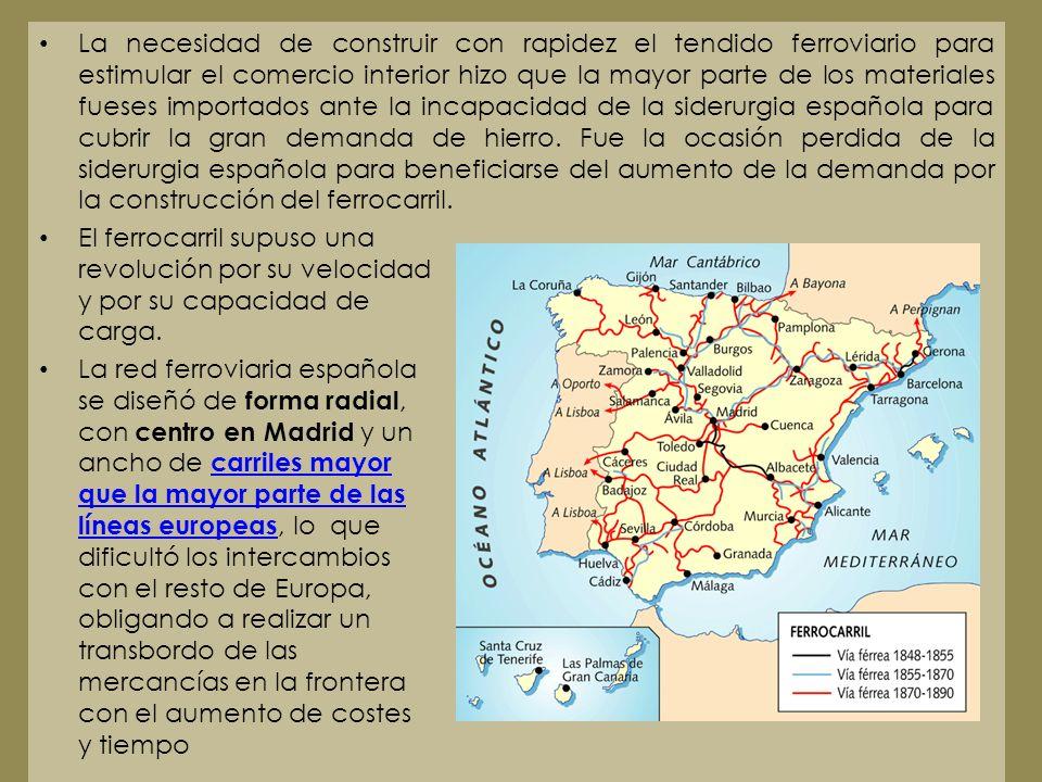 La necesidad de construir con rapidez el tendido ferroviario para estimular el comercio interior hizo que la mayor parte de los materiales fueses importados ante la incapacidad de la siderurgia española para cubrir la gran demanda de hierro. Fue la ocasión perdida de la siderurgia española para beneficiarse del aumento de la demanda por la construcción del ferrocarril.