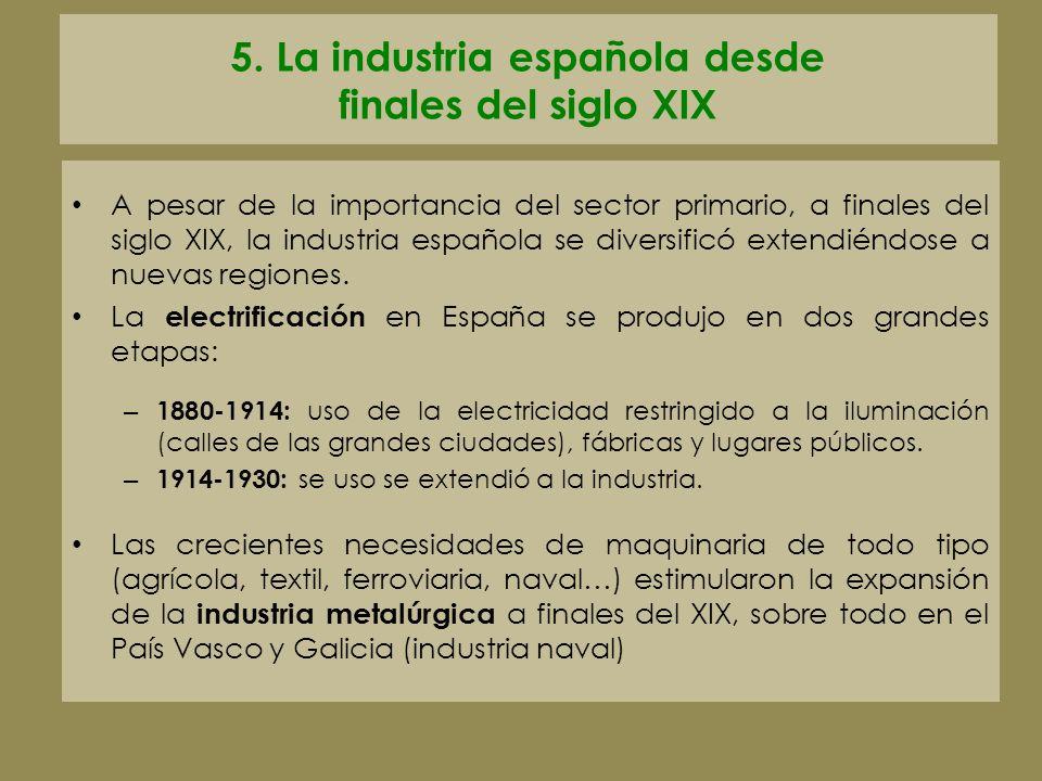 5. La industria española desde finales del siglo XIX