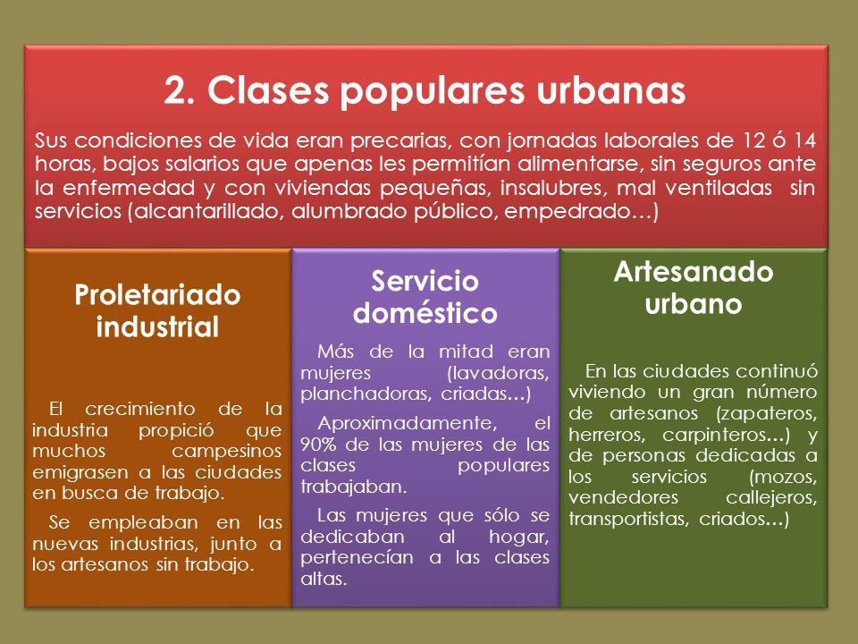 2. Clases populares urbanas Proletariado industrial
