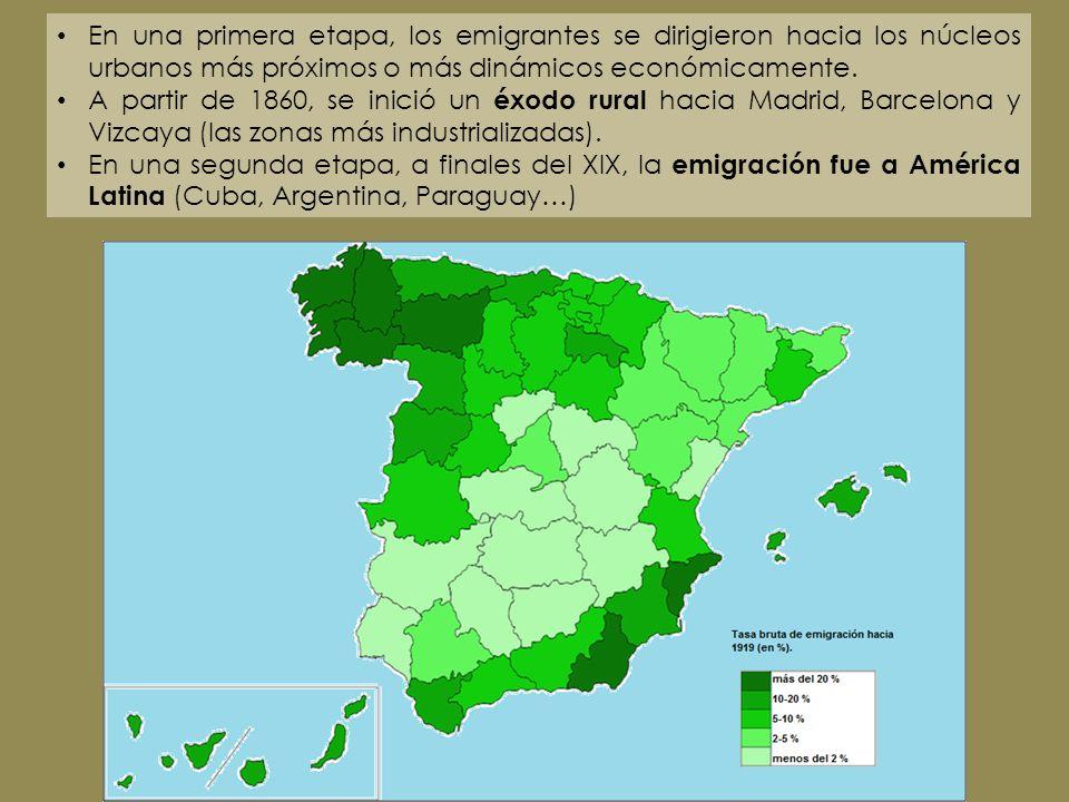 En una primera etapa, los emigrantes se dirigieron hacia los núcleos urbanos más próximos o más dinámicos económicamente.