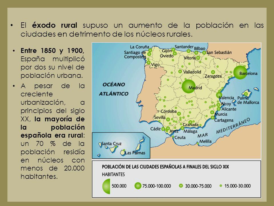El éxodo rural supuso un aumento de la población en las ciudades en detrimento de los núcleos rurales.