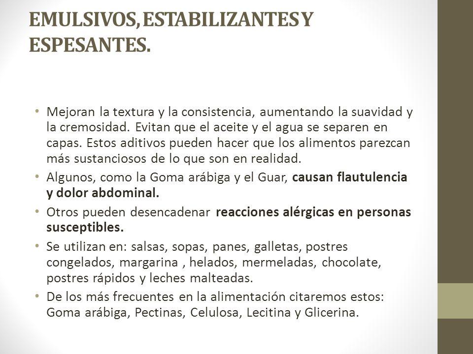 EMULSIVOS, ESTABILIZANTES Y ESPESANTES.