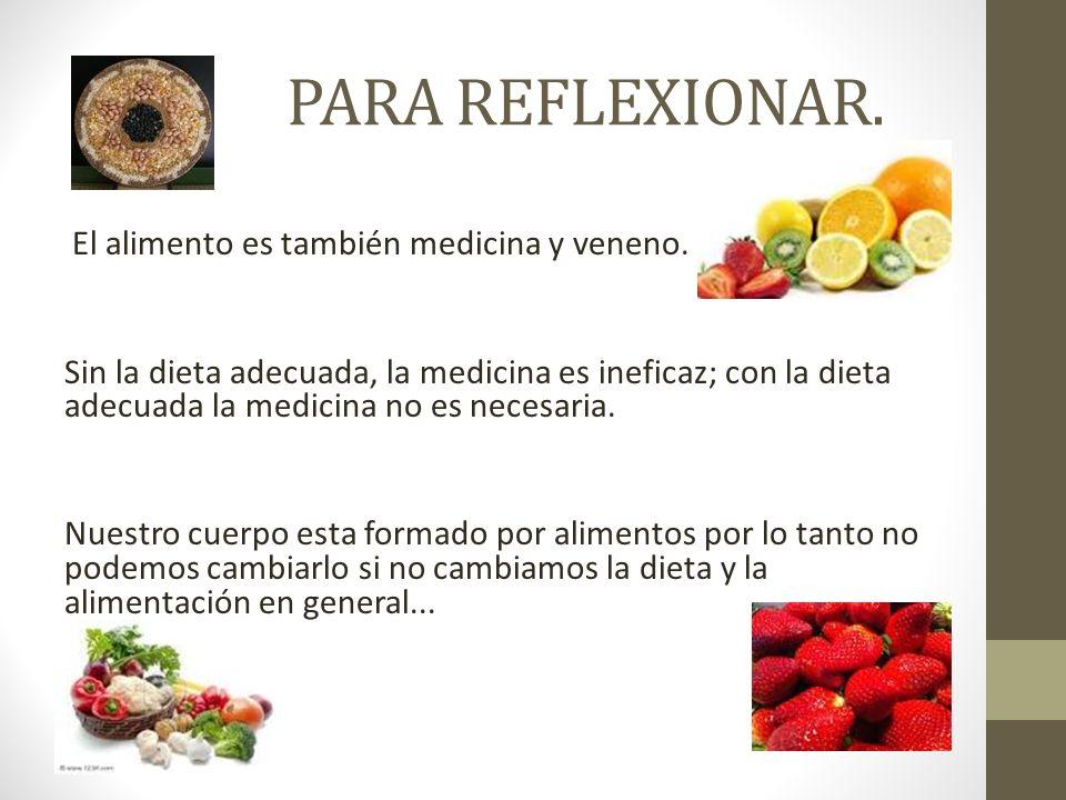 PARA REFLEXIONAR. El alimento es también medicina y veneno.