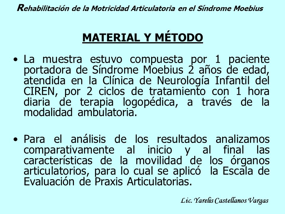 Rehabilitación de la Motricidad Articulatoria en el Síndrome Moebius