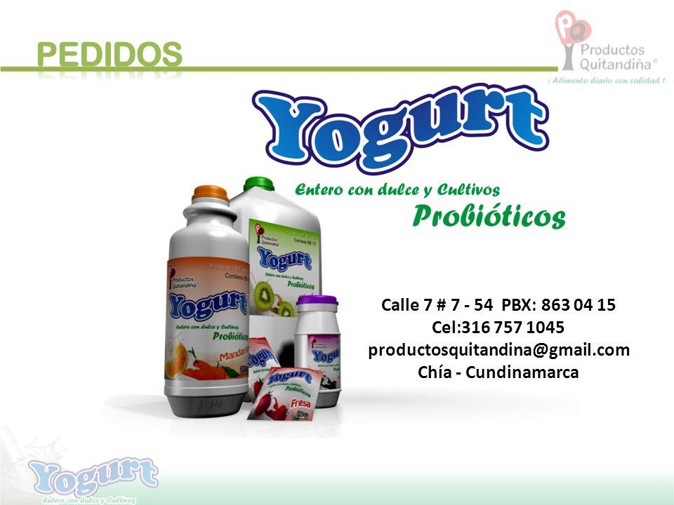 PEDIDOS Calle 7 # 7 - 54 PBX: 863 04 15 Cel:316 757 1045