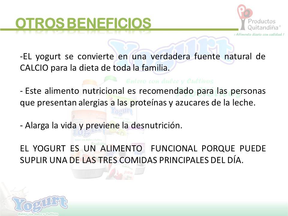 OTROS BENEFICIOS EL yogurt se convierte en una verdadera fuente natural de CALCIO para la dieta de toda la familia.