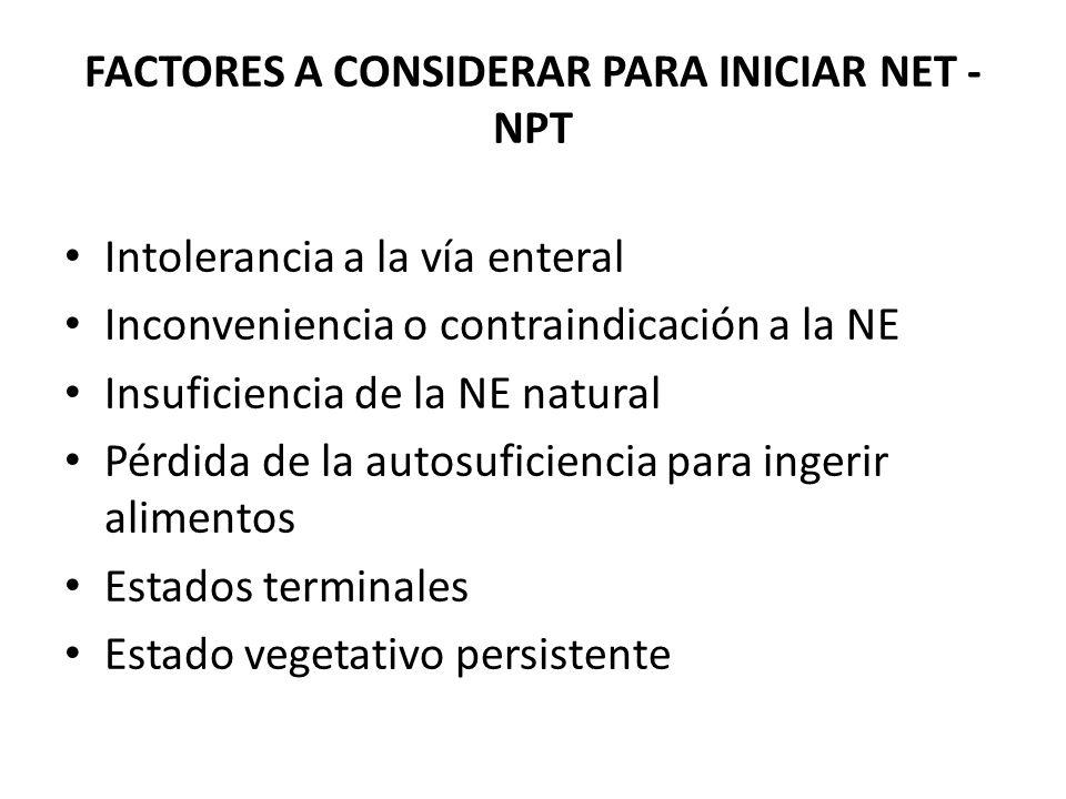 FACTORES A CONSIDERAR PARA INICIAR NET - NPT