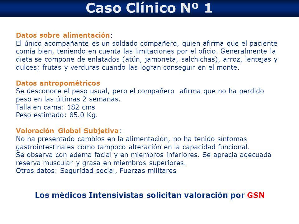 Los médicos Intensivistas solicitan valoración por GSN