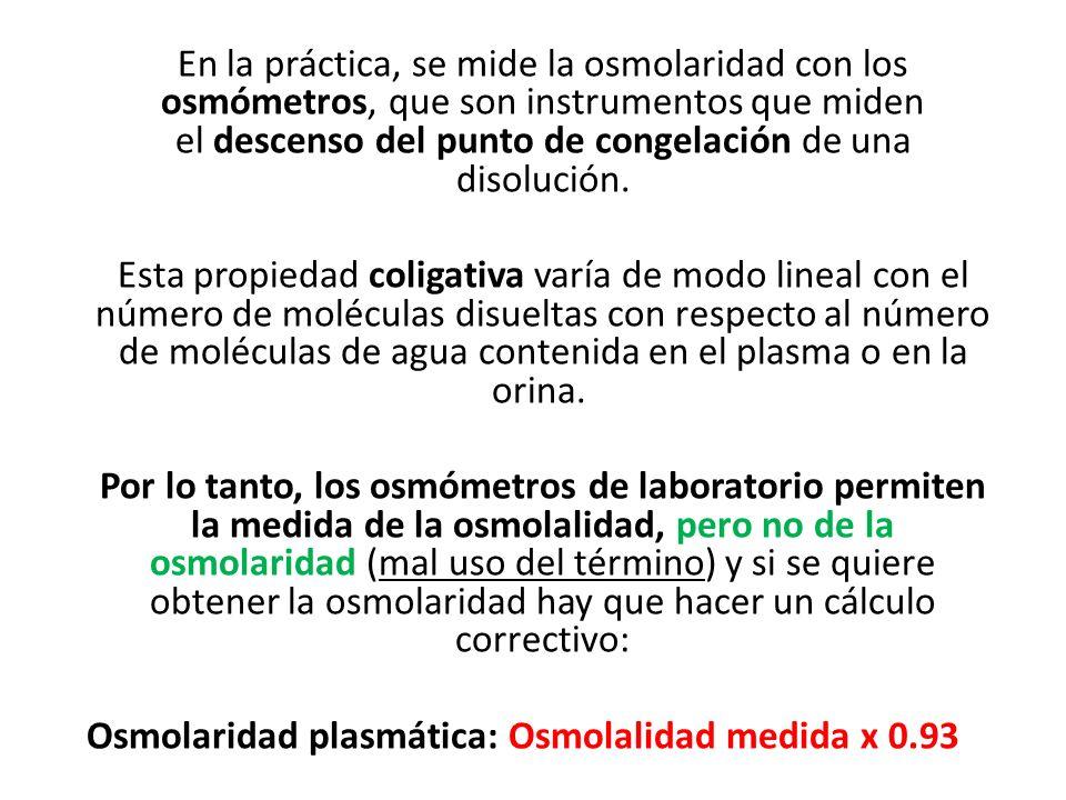 Osmolaridad plasmática: Osmolalidad medida x 0.93