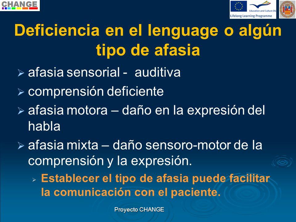 Deficiencia en el lenguage o algún tipo de afasia