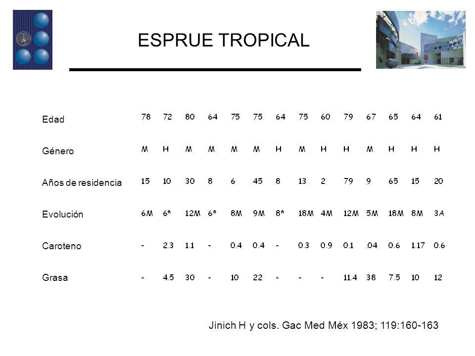 ESPRUE TROPICAL Jinich H y cols. Gac Med Méx 1983; 119:160-163 Edad
