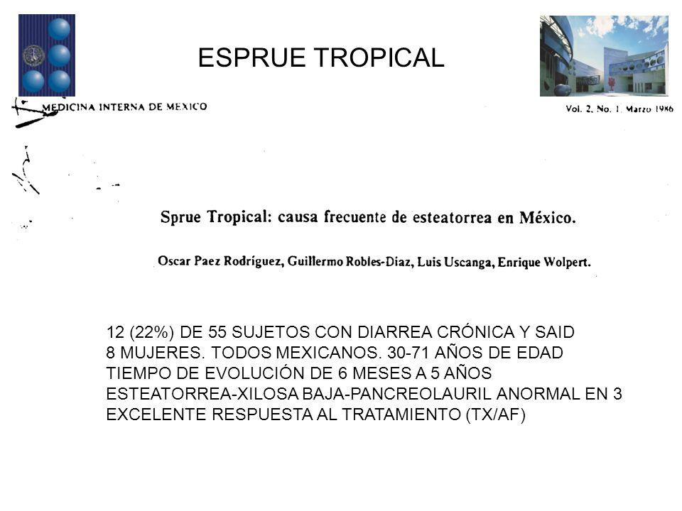 ESPRUE TROPICAL 12 (22%) DE 55 SUJETOS CON DIARREA CRÓNICA Y SAID