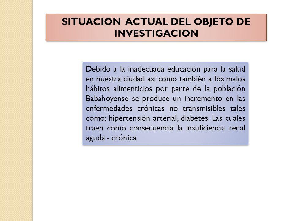SITUACION ACTUAL DEL OBJETO DE INVESTIGACION