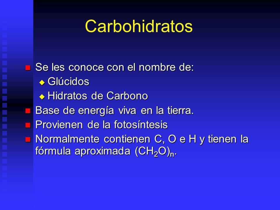 Carbohidratos Se les conoce con el nombre de: Glúcidos